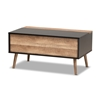 Baxton Studio Jensen Modern and Contemporary Two-Tone Black and Rustic Brown Finished Wood Lift Top Coffee Table with Storage Compartment