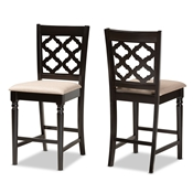 Baxton Studio Ramiro Modern and Contemporary Transitional Sand Fabric Upholstered and Dark Brown Finished Wood 2-Piece Counter Stool Set