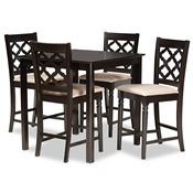 Baxton Studio Ramiro Modern and Contemporary Transitional Sand Fabric Upholstered and Dark Brown Finished Wood 5-Piece Pub Set