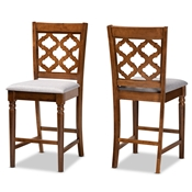 Baxton Studio Ramiro Modern and Contemporary Transitional Grey Fabric Upholstered and Walnut Brown Finished Wood 2-Piece Counter Stool Set