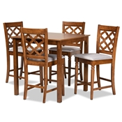 Baxton Studio Ramiro Modern and Contemporary Transitional Grey Fabric Upholstered and Walnut Brown Finished Wood 5-Piece Pub Set