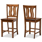 Baxton Studio Fenton Modern and Contemporary Transitional Walnut Brown Finished Wood 2-Piece Counter Stool Set