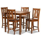 Baxton Studio Fenton Modern and Contemporary Transitional Walnut Brown Finished Wood 5-Piece Pub Set