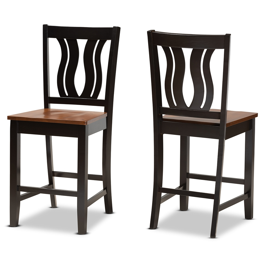 Baxton Studio Fenton Modern and Contemporary Transitional Two-Tone Dark Brown and Walnut Brown Finished Wood 2-Piece Counter Stool Set