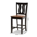 Baxton Studio Fenton Modern and Contemporary Transitional Two-Tone Dark Brown and Walnut Brown Finished Wood 2-Piece Counter Stool Set - RH338P-Dark Brown/Walnut Scoop Seat-PC