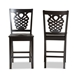 Baxton Studio Gervais Modern and Contemporary Transitional Dark Brown Finished Wood 2-Piece Counter Stool Set - RH339P-Dark Brown Scoop Seat-PC