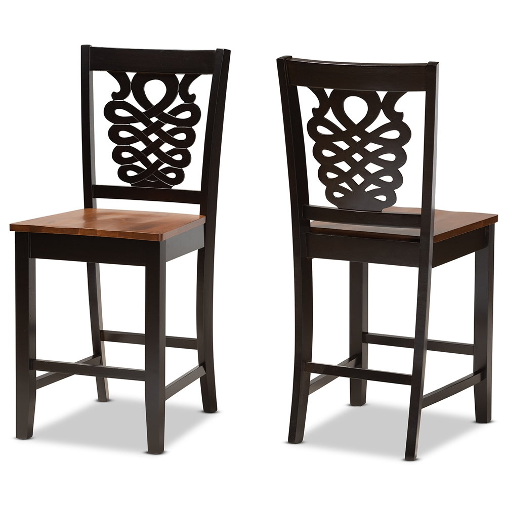 Baxton Studio Gervais Modern and Contemporary Transitional Two-Tone Dark Brown and Walnut Brown Finished Wood 2-Piece Counter Stool Set