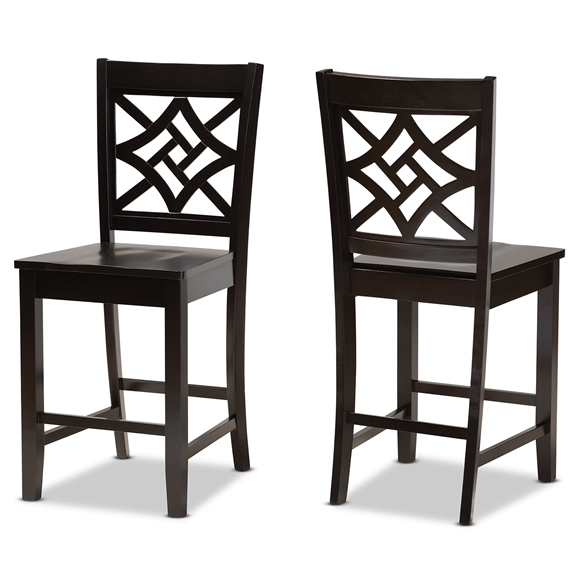 Baxton Studio Nicolette Modern and Contemporary Transitional Dark Brown Finished Wood 2-Piece Counter Stool Set