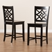 Baxton Studio Nicolette Modern and Contemporary Transitional Dark Brown Finished Wood 2-Piece Counter Stool Set - RH340P-Dark Brown Wood Scoop Seat-PC