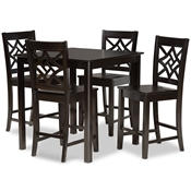 Baxton Studio Nicolette Modern and Contemporary Transitional Dark Brown Finished Wood 5-Piece Pub Set