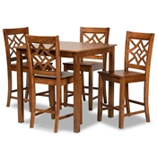 Baxton Studio Nicolette Modern and Contemporary Walnut Brown Finished Wood 5-Piece Pub Set