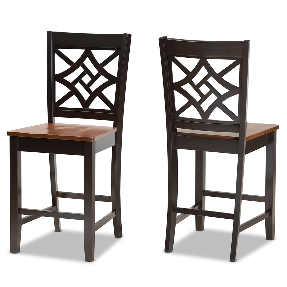 Baxton Studio Nicolette Modern and Contemporary Two-Tone Dark Brown and Walnut Brown Finished Wood 2-Piece Counter Stool Set