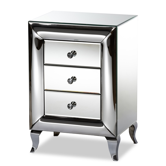 Baxton Studio Pauline Contemporary Glam and Luxe Mirrored 3-Drawer Nightstand