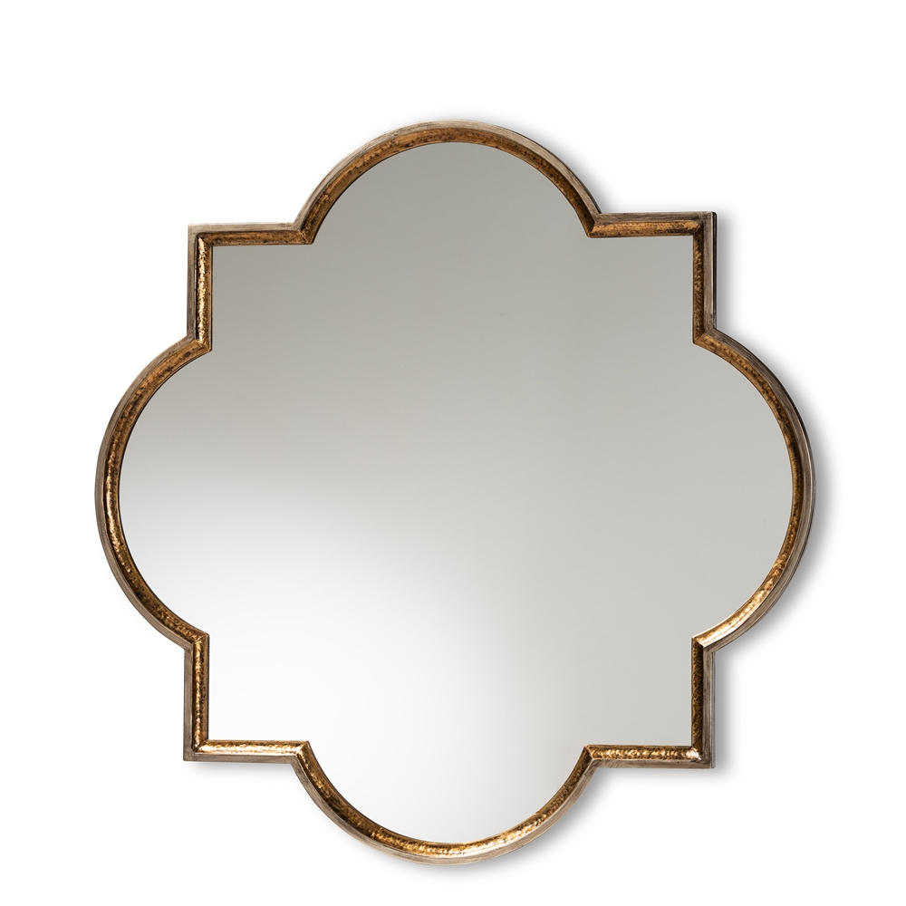 Baxton Studio Tiana Vintage Antique Bronze and Gold Finished Metal Quatrefoil Accent Wall Mirror