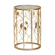 Baxton Studio Anaya Modern and Contemporary Glam Brushed Gold Finished Metal and Glass Leaf Accent End Table