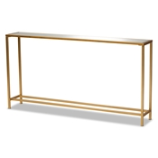 Baxton Studio Alessa Modern and Contemporary Glam Gold Finished Metal and Mirrored Glass Console Table