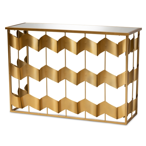 Baxton Studio Vega Glam and Luxe Gold Finished Metal and Mirrored Glass Geometric Console Table