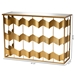 Baxton Studio Vega Glam and Luxe Gold Finished Metal and Mirrored Glass Geometric Console Table - JY20A258-Gold-Console