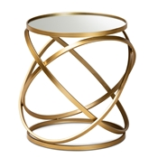 Baxton Studio Desma Glam and Luxe Gold Finished Metal and Mirrored Glass End Table