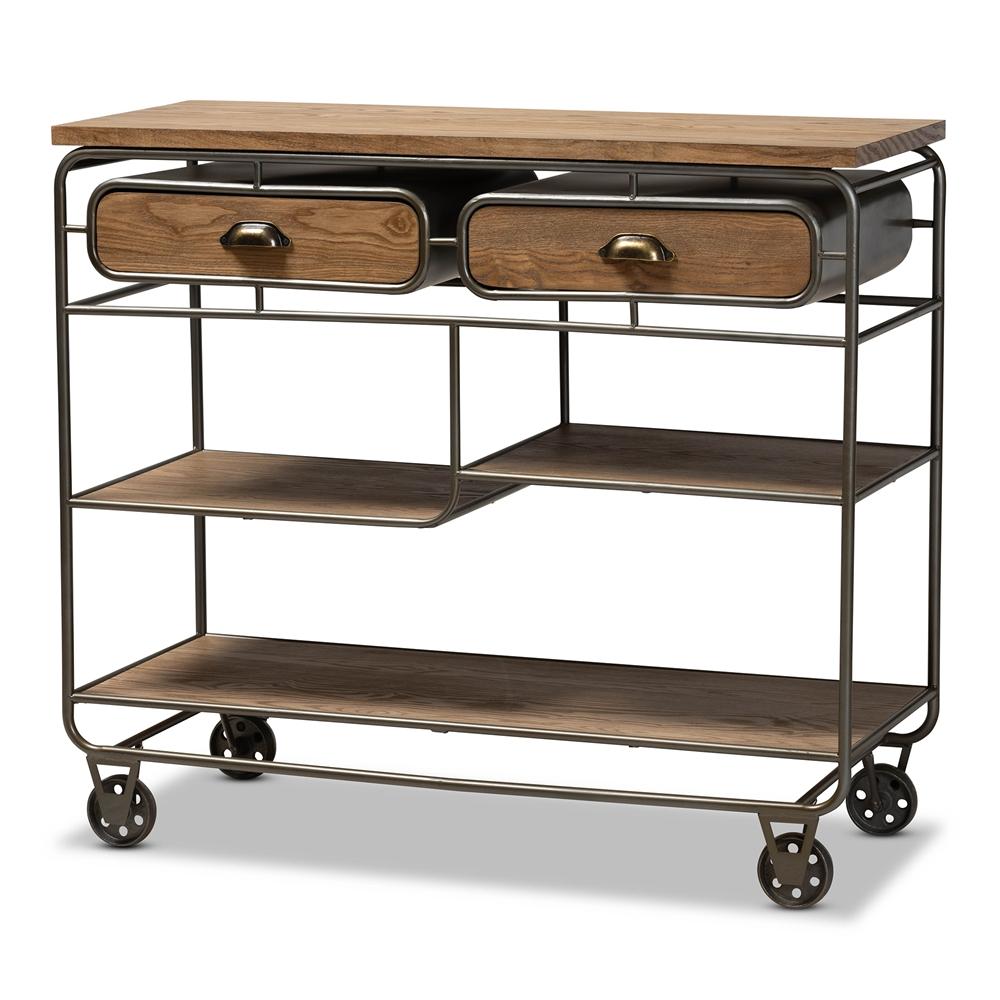 Baxton Studio Grant Vintage Rustic Industrial Oak Brown Finished Wood and Black Finished Metal 2-Drawer Kitchen Cart