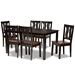 Baxton Studio Zamira Modern and Contemporary Transitional Two-Tone Dark Brown and Walnut Brown Finished Wood 7-Piece Dining Set