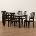 Baxton Studio Zamira Modern and Contemporary Transitional Two-Tone Dark Brown and Walnut Brown Finished Wood 7-Piece Dining Set - Zamira-Dark Brown/Walnut-7PC Dining Set