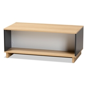 Baxton Studio Marigold Modern and Contemporary Multicolor Oak Brown and Grey Finished Wood Storage Coffee Table