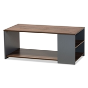 Baxton Studio Thornton Modern and Contemporary Two-Tone Walnut Brown and Grey Finished Wood Storage Coffee Table