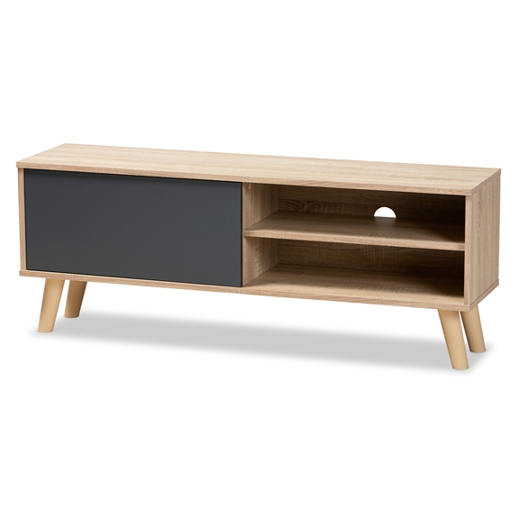 Baxton Studio Mallory Modern and Contemporary Two-Tone Oak Brown and Grey Finished Wood TV Stand