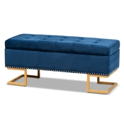 Baxton Studio Ellery Luxe and Glam Navy Blue Velvet Fabric Upholstered and Gold Finished Metal Storage Ottoman
