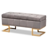 Baxton Studio Ellery Luxe and Glam Grey Velvet Fabric Upholstered and Gold Finished Metal Storage Ottoman