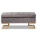 Baxton Studio Ellery Luxe and Glam Grey Velvet Fabric Upholstered and Gold Finished Metal Storage Ottoman - WS-14115-Grey Velvet/Gold-Otto