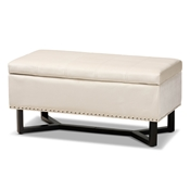 Baxton Studio Esther Modern and Contemporary Beige Velvet Fabric Upholstered and Dark Brown Finished Wood Storage Ottoman