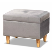 Baxton Studio Elias Modern and Contemporary Grey Velvet Fabric Upholstered and Oak Brown Finished Wood Storage Ottoman