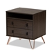 Baxton Studio Glover Modern and Contemporary Dark Brown Finished Wood and Rose Gold-Tone Finished Metal 2-Drawer Nightstand