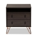 Baxton Studio Glover Modern and Contemporary Dark Brown Finished Wood and Rose Gold-Tone Finished Metal 2-Drawer Nightstand - NS8016-Dark Brown-NS
