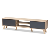 Baxton Studio Clapton Modern and Contemporary Two-Tone Grey and Oak Brown Finished Wood TV Stand