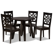 Baxton Studio Rava Modern and Contemporary Dark Brown Finished Wood 5-Piece Dining Set