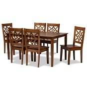 Baxton Studio Nicolette Modern and Contemporary Walnut Brown Finished Wood 7-Piece Dining Set