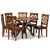 Baxton Studio Miela Modern and Contemporary Walnut Brown Finished Wood 7-Piece Dining Set