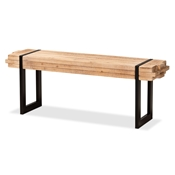 Baxton Studio Henson Rustic and Industrial Natural Brown Finished Wood and Black Finished Metal Bench
