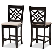 Baxton Studio Nicolette Modern and Contemporary Sand Fabric Upholstered and Dark Brown Finished Wood 2-Piece Counter Stool Set