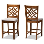 Baxton Studio Nicolette Modern and Contemporary Grey Fabric Upholstered and Walnut Brown Finished Wood 2-Piece Counter Stool Set