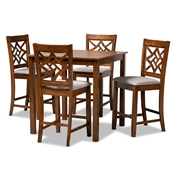 Baxton Studio Nicolette Modern and Contemporary Grey Fabric Upholstered and Walnut Brown Finished Wood 5-Piece Pub Set