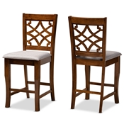 Baxton Studio Nisa Modern and Contemporary Grey Fabric Upholstered and Walnut Brown Finished Wood 2-Piece Counter Stool Set