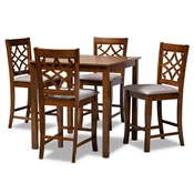 Baxton Studio Nisa Modern and Contemporary Grey Fabric Upholstered Walnut Brown Finished Wood 5-Piece Pub Set