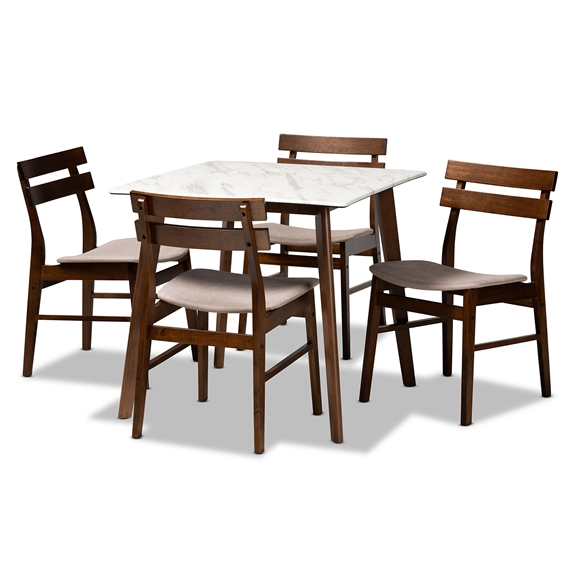 Baxton Studio Nicolette Modern and Contemporary Sand Fabric Upholstered and Dark Brown Finished Wood 5-Piece Pub Set