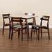 Baxton Studio Richmond Mid-Century Modern Light Beige Fabric Upholstered and Walnut Brown Finished Wood 5-Piece Dining Set with Faux Marble Dining Table - Richmond-Latte/Walnut-5PC Dining Set