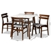 Baxton Studio Richmond Mid-Century Modern Light Grey Fabric Upholstered and Walnut Brown Finished Wood 5-Piece Dining Set with Faux Marble Dining Table - Richmond-Smoke/Walnut-5PC Dining Set