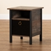 Baxton Studio Vaughan Modern and Contemporary Two-Tone Rustic Brown and Black Finished Wood Nightstand - SM-NS3840-Rustic Brown-NS